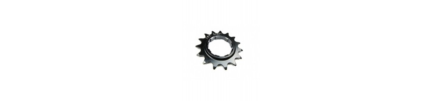 Splined singlespeed sprockets for biketrial and trials bikes. Sprockets from aluminium or steel.